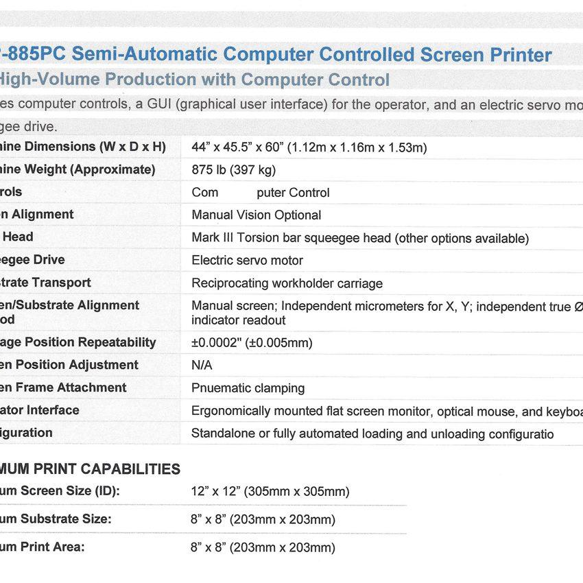 AMI/HMI MSP-885PC-SCREEN-PRINTER 2008 Vintage, very low cycles