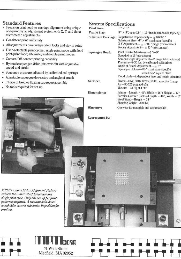 MPM TF100 SCREEN PRINTER