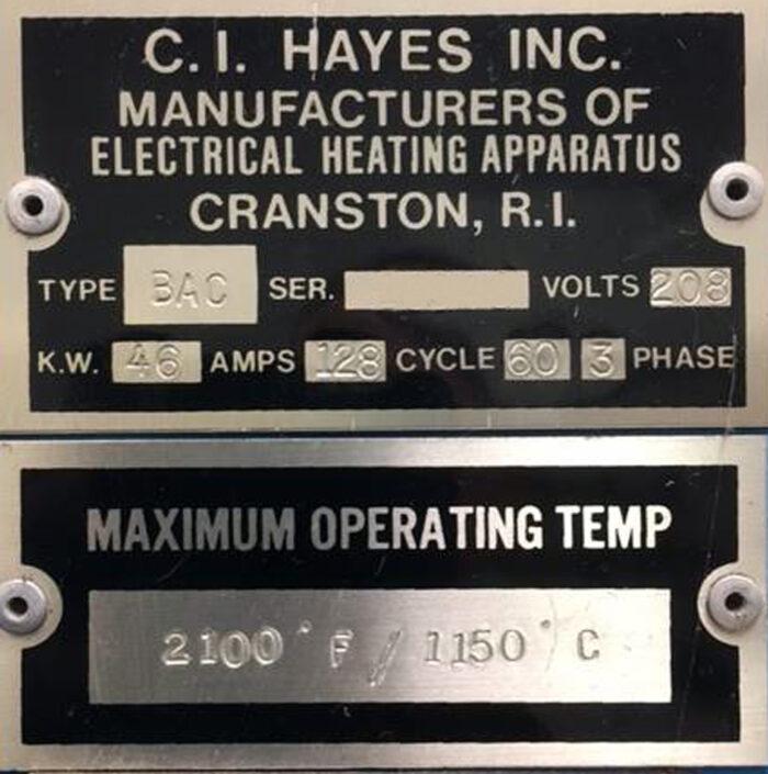 C I Hayes model BAC-MH-030646 Humpback Conveyor Furnace